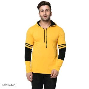 Men Casual Cotton Round Neck Full Sleeve Solid Hoodie T-Shirt By Hafsa Collection(Yellow)