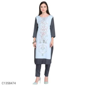 New Calf Length Printed Crepe 34 Th Sleeve Stitched Kurti By Hafsa Collection(Multicolor5)