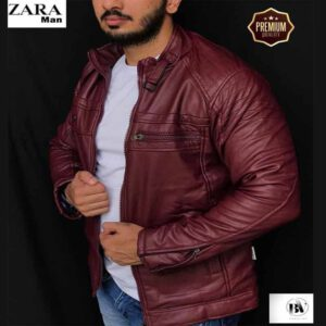 Premium Quality Leather Jacket For Men By Harsh Collection (Burgundy)