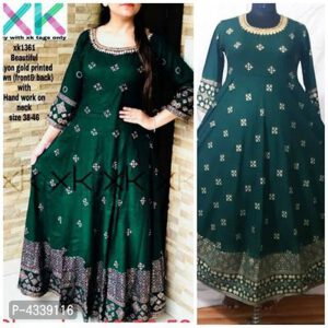 Rayon Embellished Gold Printed 34 Th Sleeve Stitched Anarkali Gown By Hafsa Collection(Dark Green)