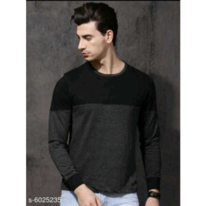 Trendy Stylish Men Cotton Round Neck Full Sleeve Solid T-Shirt By Hafsa Collection(Grey)