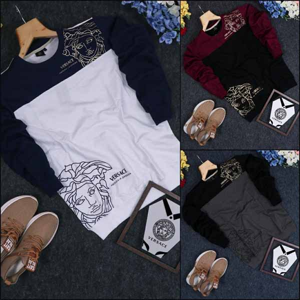 Versace Premium Quality Foil Print Loop knit Round Neck Full Sleeves Sweatshirts For Men By Balaji Collection
