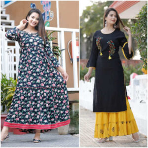Women Cotton Stitched Kurti With Palazzo And Gown Combo By Krishna Collection(Multicolor3)