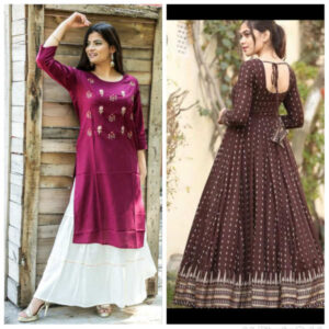 Women Cotton Stitched Kurti With Sharara And Gown Combo By Krishna Collection(Multicolor2)