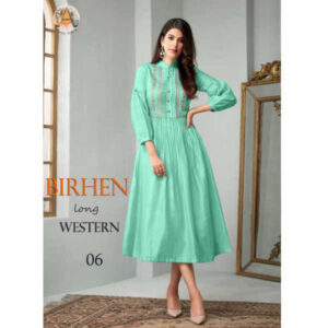 Birhen Embroidery Work 34 Th Sleeve Cemric Cotton Long Western Wear By Royal Queen Textile(Aqua)