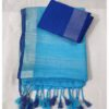 Cotton Linen Saree By H S Fabric (Turquoise)