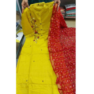 Muslin 34 Th Sleeve Stitched Kurti With Bandhej Dupatta With Heavy Front Work By Debjani Collection(Yellow)