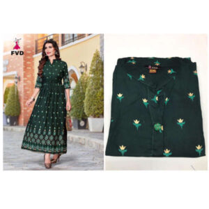 New Launching Rang Rayon 3/4 Th Sleeve Foil Print Stitched Long Gown By DHD Fashion