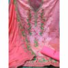 New Un-Stitched Embroidered Printed Chanderi Santoon Salwar Suit Dress Materials With Nazneen Dupatta By Debjani Collection (Pink)