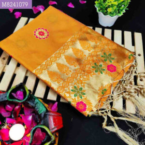 Party And Festive Wear Soft Litchi Silk Embellished Saree With Running Jacquard Blouse By Priyanka Bansal