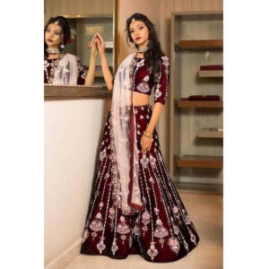 Presenting New Designer Heavy Tapeta Silk Embroidered Semi-Stitched Lehenga Choli And Micro Cotton Inner With Heavy Soft Net Dupatta By Debjani Collection9Maroon)