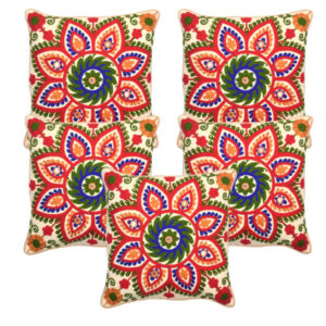 Printed Cotton 5 Piece Cushion Cover By Bagrecha Creation (Multicolor8)
