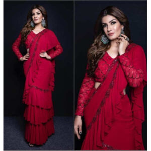 Raveena Tandon Ruffle Sequin Work Georgette Saree With Embroidered Banglori Silk Blouse Debjani Collection