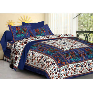100% Pure Cotton Printed One Queen Size Bedsheet With Two Pillow Covers By Bee Jee Creations(Dark Blue)