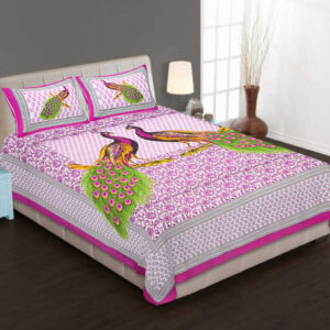 100% Pure Cotton Printed One Queen Size Bedsheet With Two Pillow Covers By Bee Jee Creations