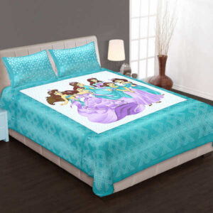 100% Pure Cotton Printed One Queen Size Bedsheet With Two Pillow Covers By Bee Jee Creations(Turquoise4)