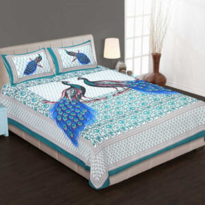 100% Pure Cotton Printed One Queen Size Bedsheet With Two Pillow Covers By Bee Jee Creations(White)