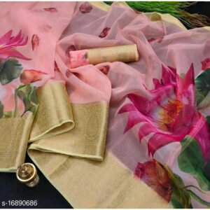 Aagam Voguish Organza Floral Print Saree With Jacquard Running Blouse By Tuljai Collection