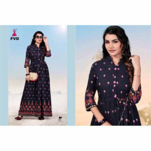 Blue Diamond Rayon Long Gown For Women By I Khodal Fashion