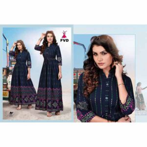 Blue Diamond Rayon Gown For Women By I Khodal Fashion