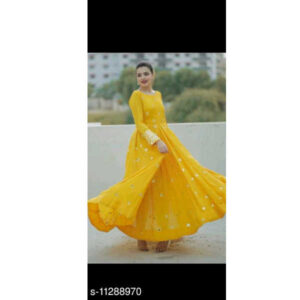 Fancy Rayon Self Work Full Sleeve Stitched Gown By Tuljai Collection(Yellow)