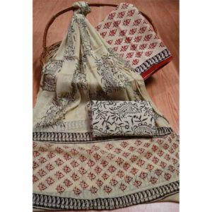 New Hand Block Printed Cotton Suit With Pure Chiffon Dupatta By Bee Jee Creations (18)