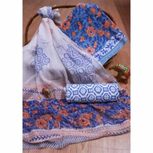 New Hand Block Printed Cotton Suit With Pure Chiffon Dupatta By Bee Jee Creations (25)