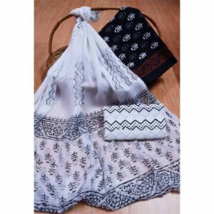 New Hand Block Printed Cotton Suit With Pure Chiffon Dupatta By Bee Jee Creations (5)
