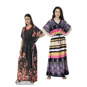 Printed Cotton Blend Kaftan Ruffle Sleeve Buy 1 Get 1 Night Gown By Tuljai Collection(Black)