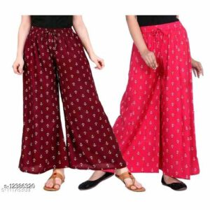 Buy 1 Get 1 Offer On Fashionable Unique Palazzos For Women By Samu Collection (Maroon, Pink)