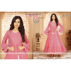 Beautiful Fox Georgette Thread Work Frill Sleeve Koti With Gown By DHD Fashion