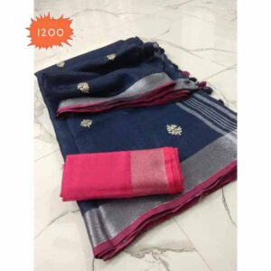 Cotton Linen Embroidery Work Saree By Linen Sarees