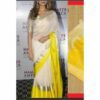 Linen Yarn Dyed Saree By Linen Sarees (White, Yellow)