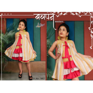 Children Cotton Color Block Sleeveless Western Dress By DHD Fashion