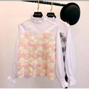Cotton With 3d Flower Party Wear Top By Khushi Fashion