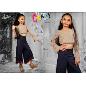 Crazy Children Fox Georgette Fox Thread Work Top With Pant By DHD Fashion