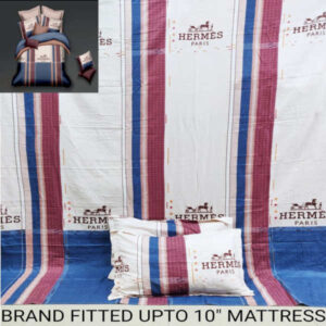 Glace Cotton One Double Bed Super Fitted All Around Elastic Bedsheet, Two Pillow Covers By Waheguru Kirpa(White4)