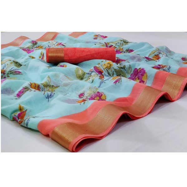 100% Quality Pure Linen Saree With Running Blouse By Waheguru Kirpa (Sky Blue)1