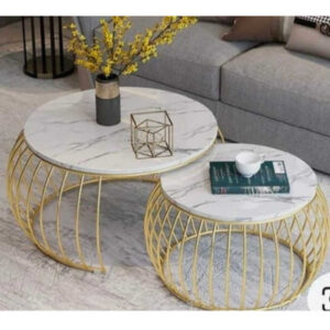 Marble And Iron Nesting Table By Sai Collection(White)