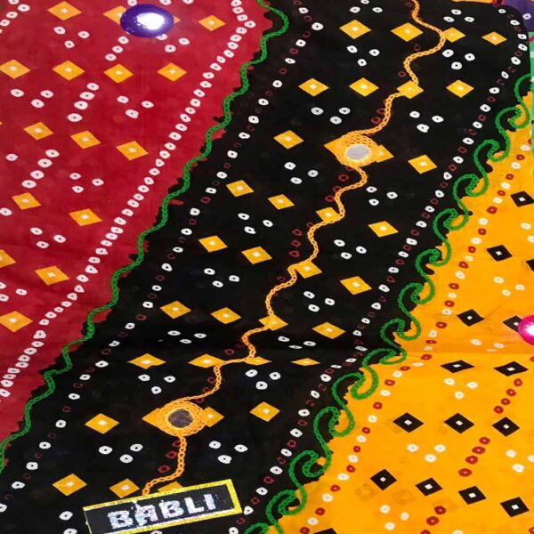 Aari Work Cambric Cotton Dupatta With Bandhej Print By Ocean Textile (Multi Color)